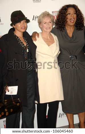 Tisha Campbell-Martin with Glenn Close and Oprah Winfrey   at The Hollywood Reporter's Annual Women In Entertainment Breakfast. Beverly Hills Hotel, Beverly Hills, CA. 12-05-08 - stock photo
