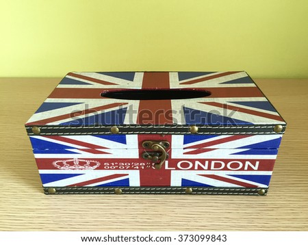 Tissue Box Covers with England flag on table