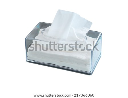Tissue box on white background - stock photo