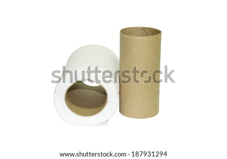 Tissue paper rolls with a isolated white background