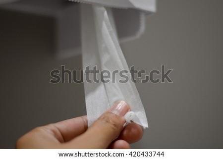 Tissue toilet wall - stock photo