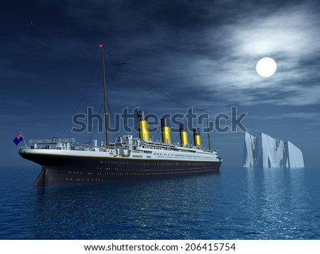 Titanic and Iceberg Computer generated 3D illustration - stock photo