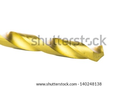 Titanium coated drill bit for drilling into plastic, metal, and wood. - stock photo