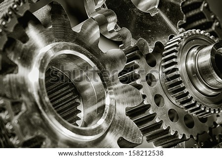 titanium gears and parts for aerospace industry - stock photo