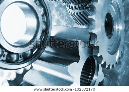 titanium gears, werospace industry, blue toning concept - stock photo