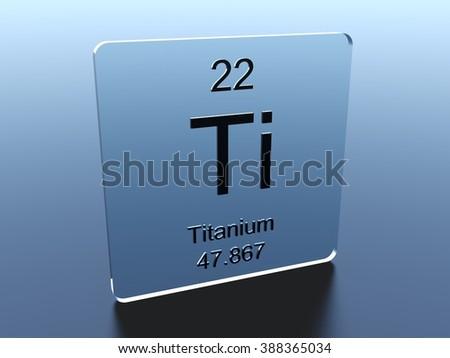 Titanium symbol on a glass square - stock photo