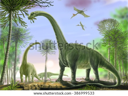 Titanosaur Argentinosaurus Titanosaurs include some of the heaviest ever land animals. Late Cretaceous, about 90 million years ago. Background, flying: Quetzalcoatlus, one of the largest pterasaurs.
