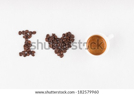 Title I love espresso made of coffee beans and real espresso - stock photo