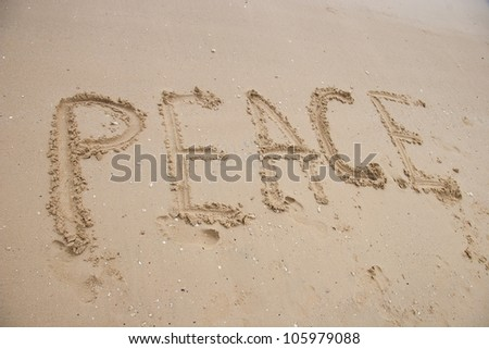Title on the sand beach near the ocean