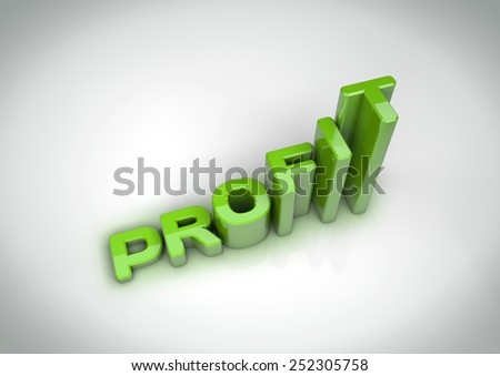 Title text profit going up - increasing. Growth in profit concept - stock photo