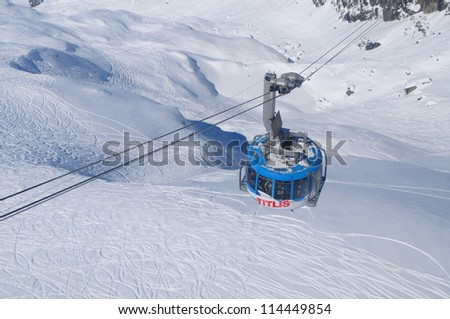 Titlis cable car, Swiss Alps, Obwalden, Switzerland - stock photo