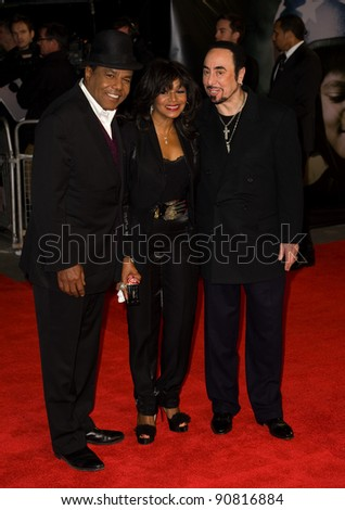 Tito Jackson, Rebbie Jackson and David Gest arriving for the UK premiere of 'Michael Jackon The Life of an Icon', Empire Leicester Square London. 02/11/2011 Picture by:  Simon Burchell / Featureflash - stock photo