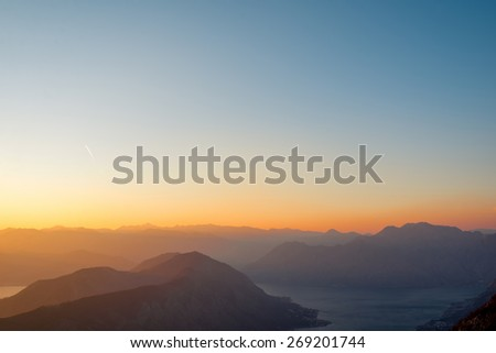 Tivat and Kotor bay with mountains on the sunset, Montenegro