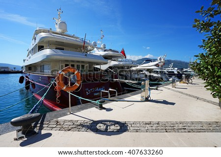 Tivat, Montenegro, April, 15, 2016: Boats and yachts in a bay of Adriatic sea, Montenegro - stock photo