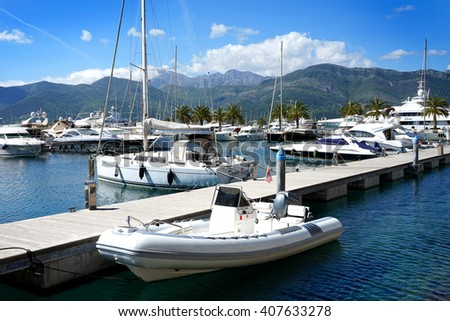 Tivat, Montenegro, April, 15, 2016: Boats and yachts in a bay of Adriatic sea, Montenegro