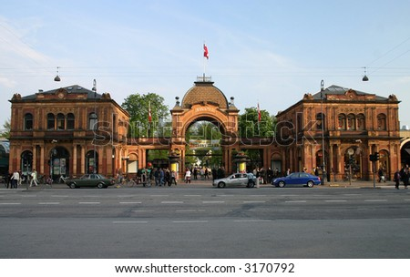 Tivoli Gardens is a famous amusement park and pleasure garden in Copenhagen, Denmark. The park opened in 1843 and it is the oldest amusement park which has survived intact to the present day. - stock photo