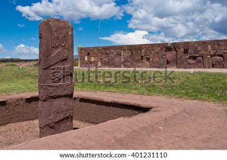 Tiwanaku Ruins in  Bolivia,  Pre-Columbian archaeological site. - stock photo