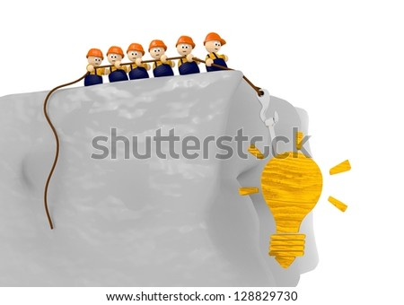 tiy 3d characters for a construction site idea in wood - stock photo