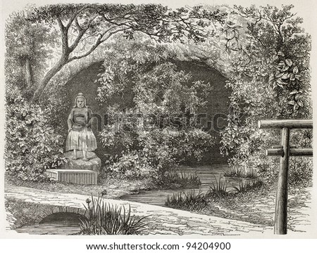 Tjoodji idol and grotto old view, Japan. Created by De Bar after Humbert, published on Le Tour du Monde, Paris, 1867 - stock photo
