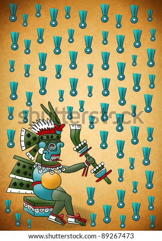 Tlaloc Mayan - Aztec deity of water and rain - stock photo