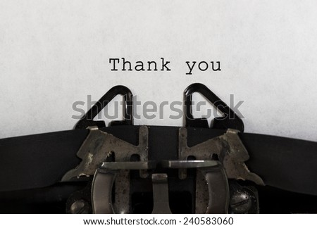 "Tld typewriter with text ""Thank You"" - stock photo"