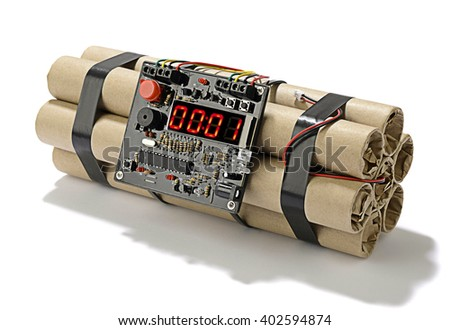 TNT bomb explosive with digital countdown timer clock isolated on white background.  - stock photo