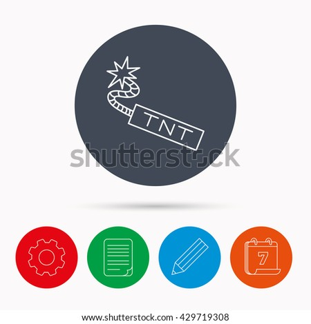 TNT dynamite icon. Bomb explosion sign. Calendar, cogwheel, document file and pencil icons. - stock photo