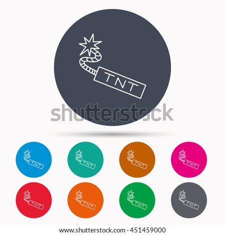 TNT dynamite icon. Bomb explosion sign. Icons in colour circle buttons.  - stock photo