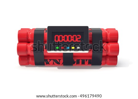 TNT dynamite red bomb with a timer isolated on  white background. 3d illustration