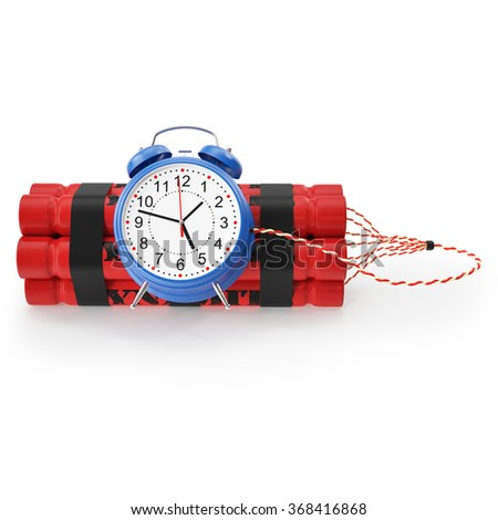 TNT, Dynamite time bomb with a digital countdown clock on a white background. 3d illustration High resolution - stock photo