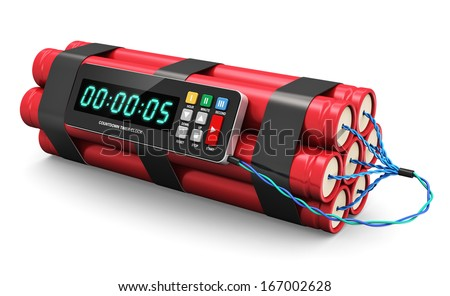 TNT time bomb explosive with digital countdown timer clock isolated on white background - stock photo