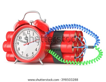 TNT time bomb on white background  3d illustration - stock photo