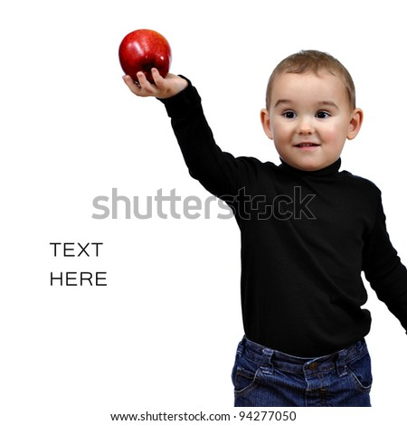 To be like Steve Jobs. Kid, boy with red apple