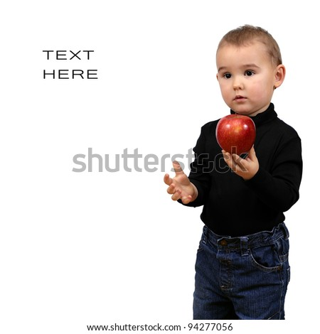 To be like Steve Jobs. Kid, boy with red apple - stock photo