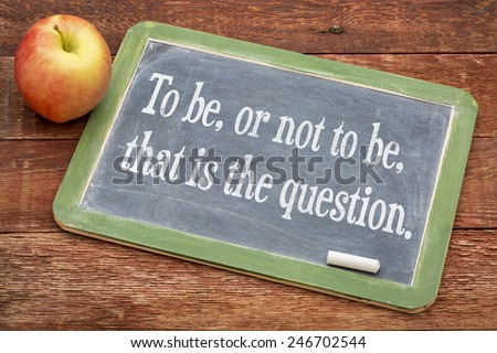 To be, or not be, that is the question - text on a slate blackboard against red barn wood - stock photo