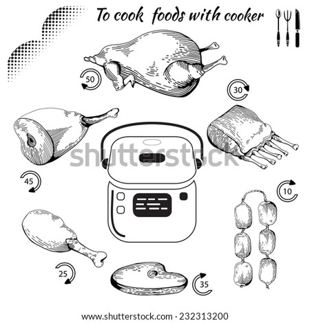to cook food with cooker. Healthy food. Tasty meat concept collection. Multicooker. Isolated Illustration of fry meat. Drawn in a doodled style. Poster on chalkboard - stock photo