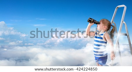To Discover New Horizons - Little Girl With Binoculars On The Ladder Above The Clouds  - stock photo