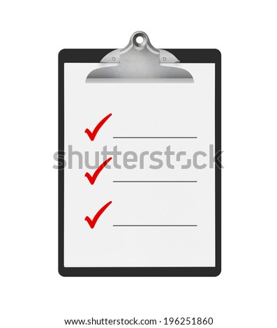 To do check list on a black clipboard, isolated on a white background. Lots of space to add your own text. - stock photo