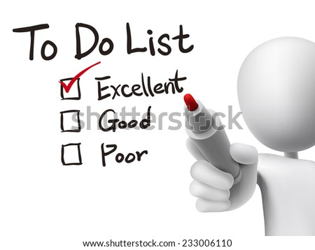 to do list checking by 3d man over transparent board