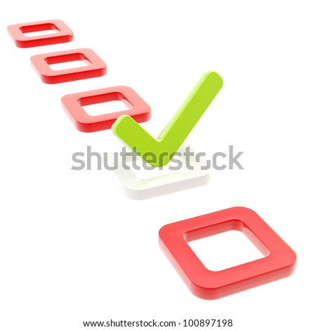 To do list, glossy tick in check box isolated on white - stock photo