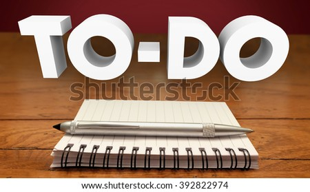 To Do List Notepad Writing Tasks Jobs Work Projects - stock photo