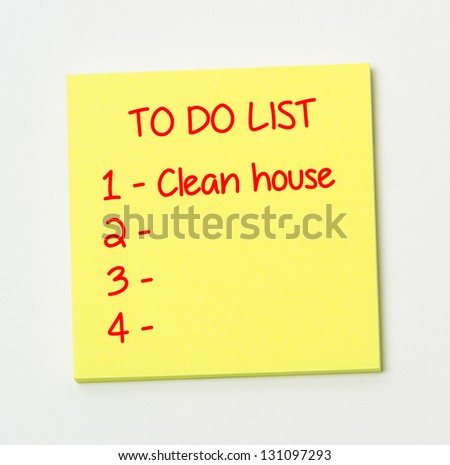 To do list on yellow paper note