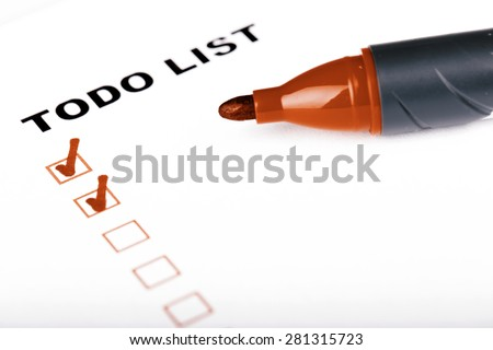 To Do list with check marks isolated on white -  todo, checklist, time management