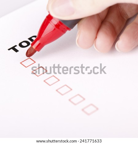 To Do list with check marks isolated on white with woman hand, Todo or to-do list.