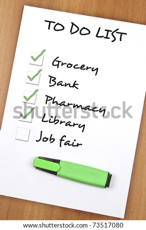 To do list with Job fair not checked - stock photo