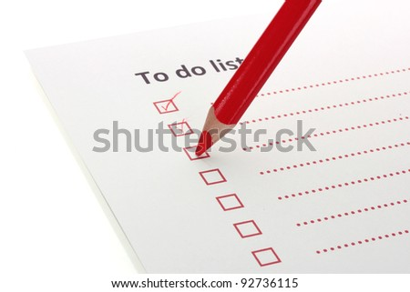 To do list with pencil closeup