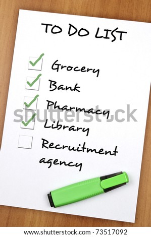 To do list with Recruitment agency not checked - stock photo