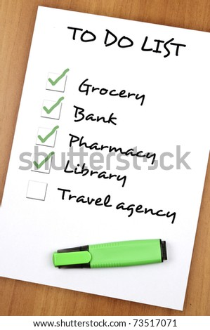 To do list with Travel agency not checked - stock photo