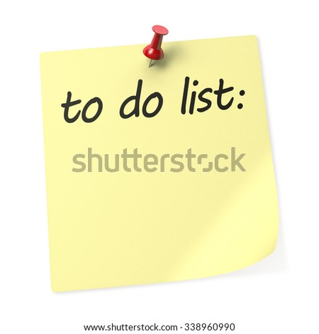 To Do List yellow sticky note with red push pin. 3D rendering.