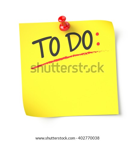 To do , yellow note paper , isolated , 3d render - stock photo